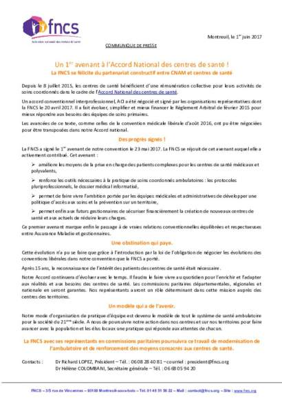 communiqué de presse : Un 1er avenant à l'Accord National des centres de santé !