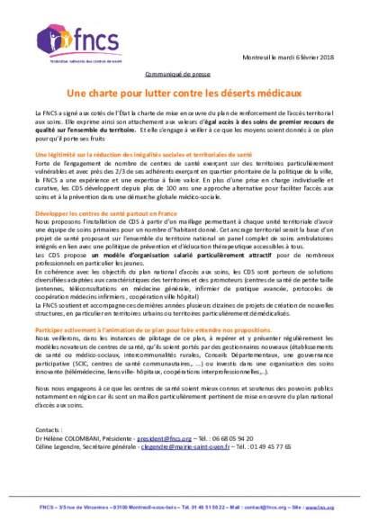 Communiqué de presse - Une charte pour lutter contre les déserts médicaux