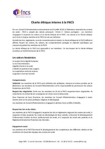 Charte éthique de la FNCS