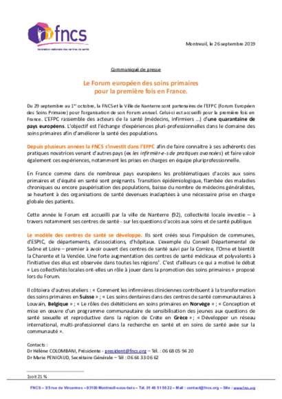 Communique de presse - EFPC 2019 - Nanterre
