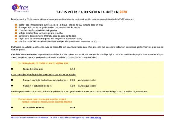 Tarifs d'adhéson à la FNCS en 2020