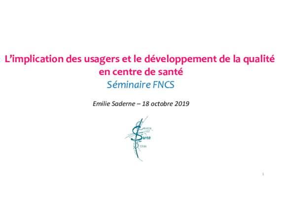 Implication des USAGERS dans la qualité_CDS communautaire les 3 sitées_Poitiers