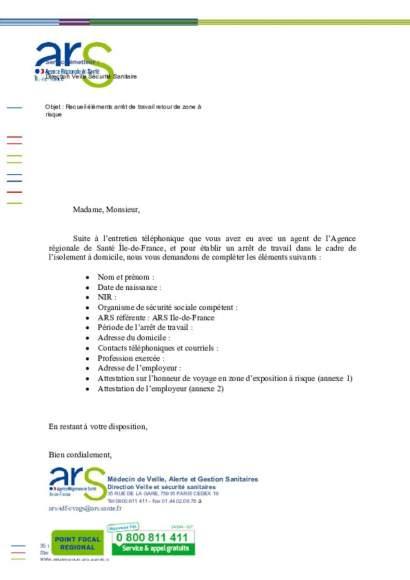 ARSIF_procédure_ARRET de TRAVAIL_retour zone à risque_confinement 14J