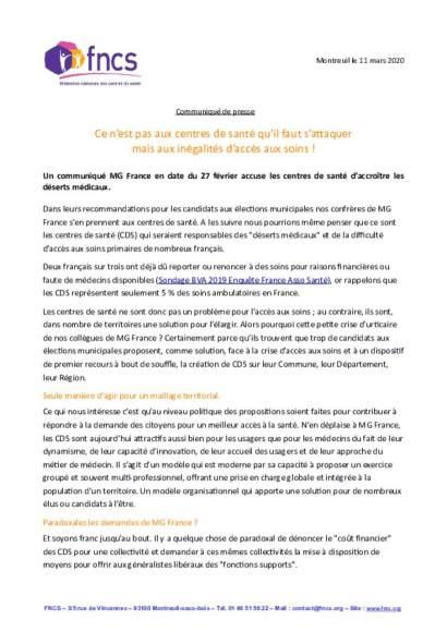 communiqué de presse MG France