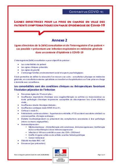 annexe 2 : consultationinterrogatoire patient avec infection respiratoire