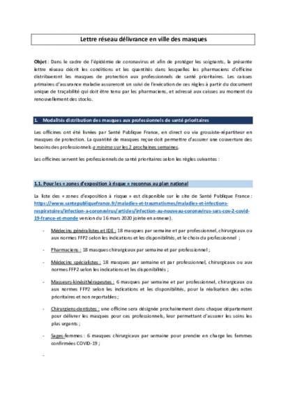 Lettre réseau délivrance en Ville des masques publiée sur le site du conseil de l'ordre des pharmaciens
