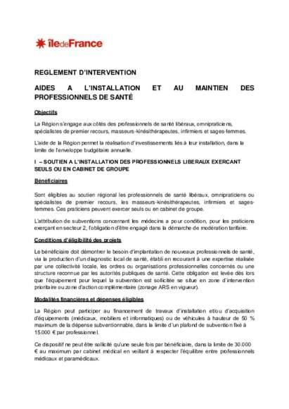 Règlement intérieur CR IDF Lutte contre les déserts médicaux_version modifiée janvier 2020
