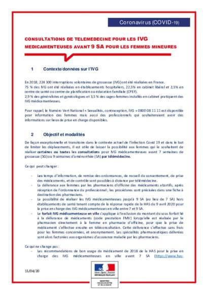 Fiche: Téléconsultations pour IVG médicamenteuse avant 9 SA_mineures_vf150420