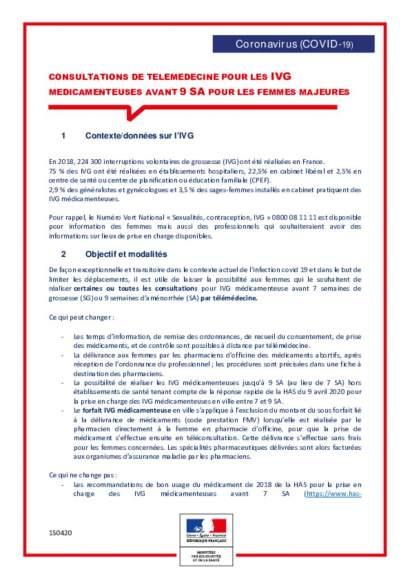 Fiche : Téléconsultations pour IVG médicamenteuse avant 9 SA_majeures_vf150420