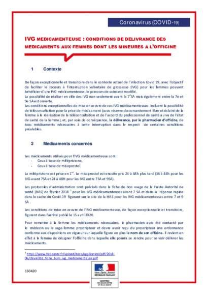 Fiche officines : Conditions de délivrance des médicaments pour IVG_vf150420