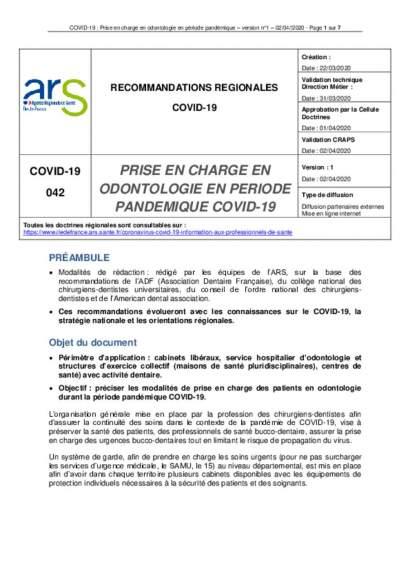 Prise en charge en odontologie en période pandémique covid-19