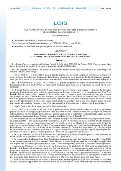 Loi prolongement ETAT d'URGENCE - 11_05_2020