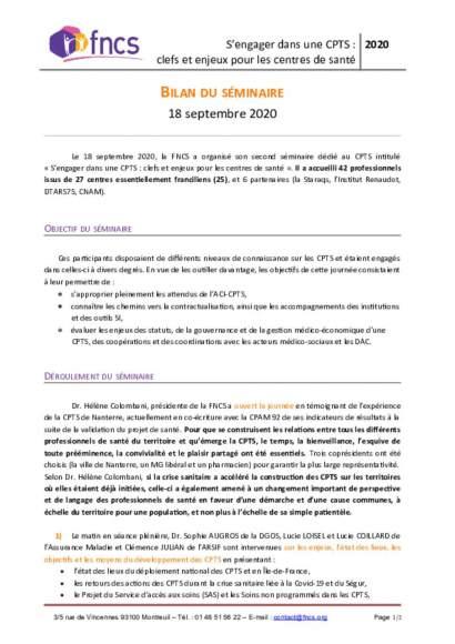 Bilan du séminaire CPTS organisé par la FNCS