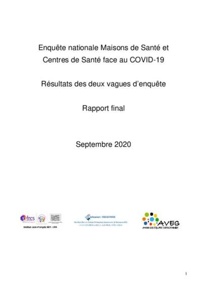 Rapport final enquête MSP CDS face au Covid
