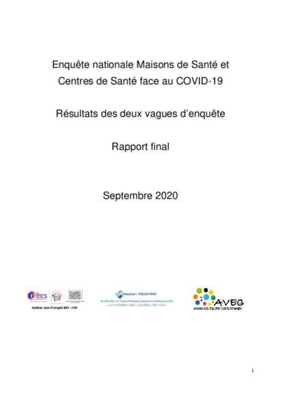 Rapport final enquête MSP CDS face au Covid