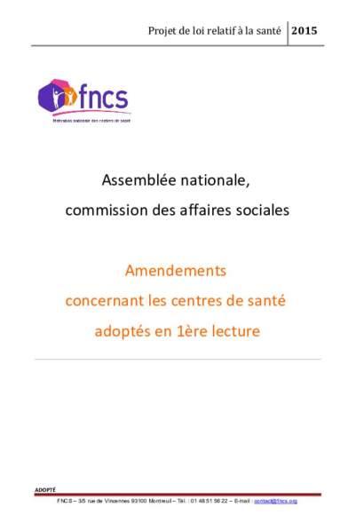 Amendements concernant les centres de santé adoptés en 1ère lecture