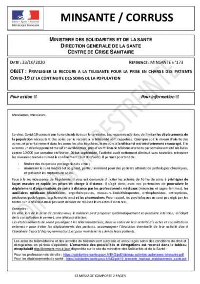 Mesures dérogatoires consultation à distance_Ministère de la santé_23_10_2020