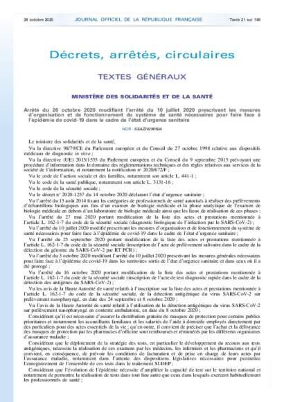 Arrêté du 26/10/20 orga et fonction sous covid19