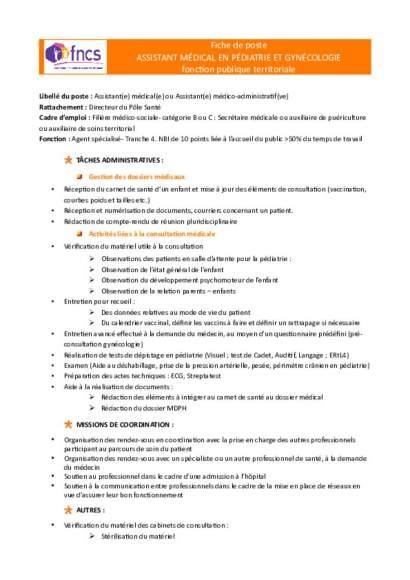Fiche de poste Assistant médical en pédiatrie et gynécologie