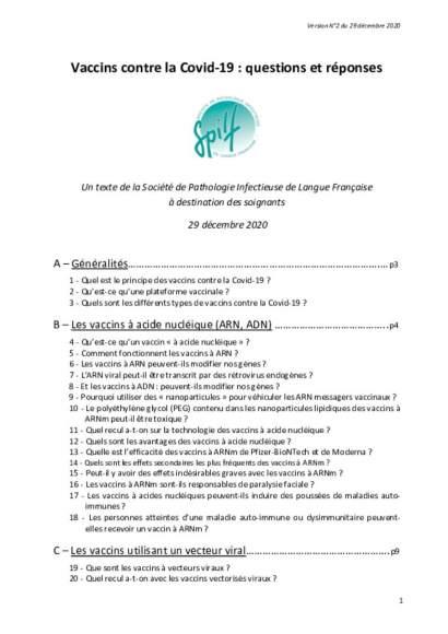 SPILF : questions / réponses sur la vaccination covid19