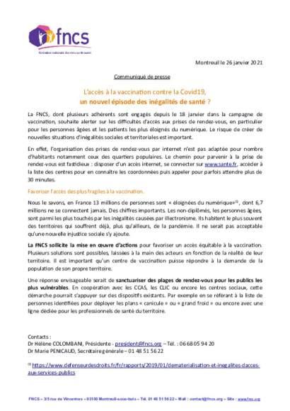 CP_RDV Vaccination_inéquité d'accès