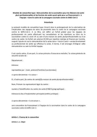 Modèle de convention_forfait VAC CDS/CPAM