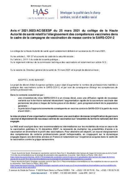 HAS_avis vaccination_organisation