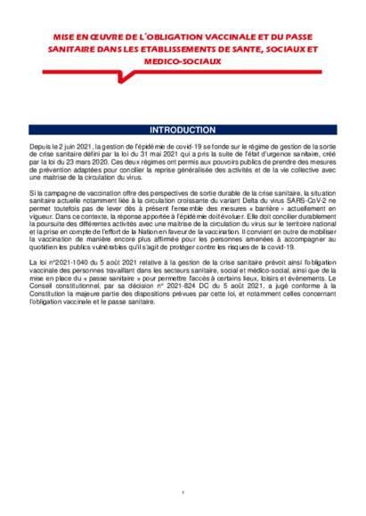 DGS Urgent - obligation vaccinale et passe sanitaire