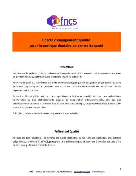 La charte d'engagement qualité pour la pratique dentaire en centre de santé