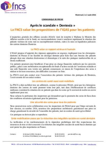 CP FNCS - Rapport IGAS Dentexia