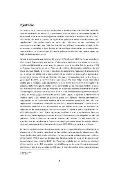IVG, état des lieux et perspectives - Rapport DREES 2016