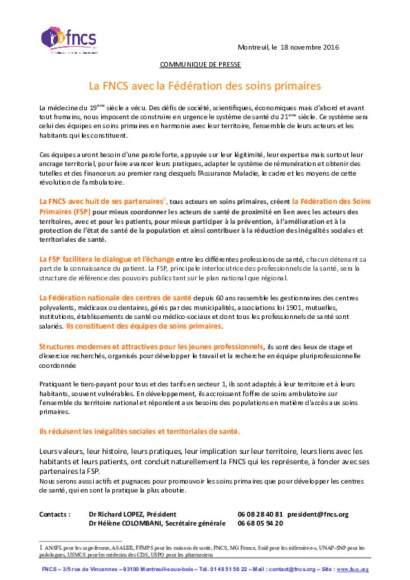 communiqué de presse FNCS - Fédération des soins primaires